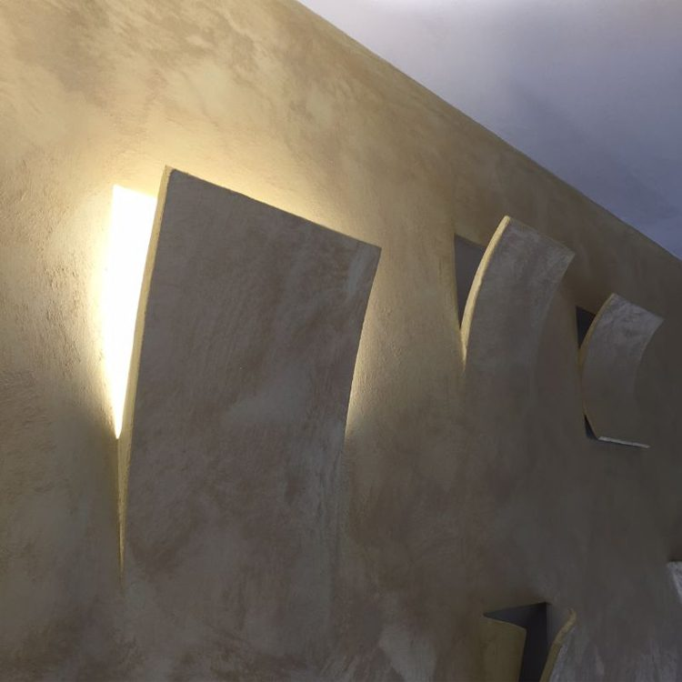 Applique in gesso da incasso vela grande e27 art39 luceled - Applique in gesso da parete ...