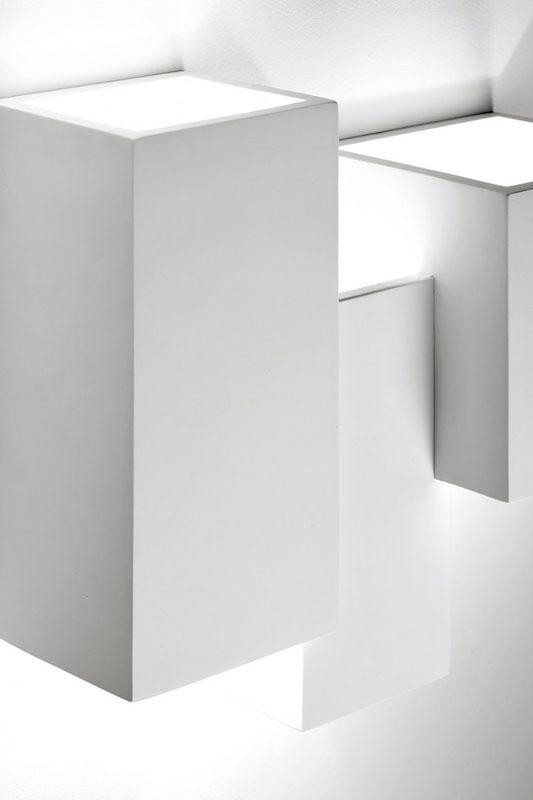 Sforzin applique da parete cubico in gesso heraea wall3 t205 luceled - Applique in gesso da parete ...