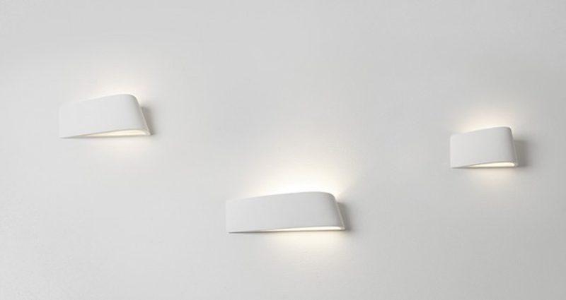 Sforzin applique da parete in gesso curvata delfi t223 luceled - Applique in gesso da parete ...