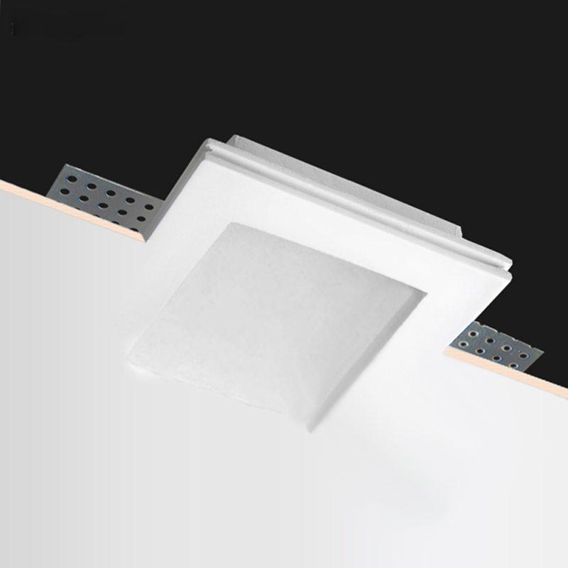 Faretti Led Incasso Gesso.Porta Faretto In Gesso Quadrato Basso 3cm Csf080small