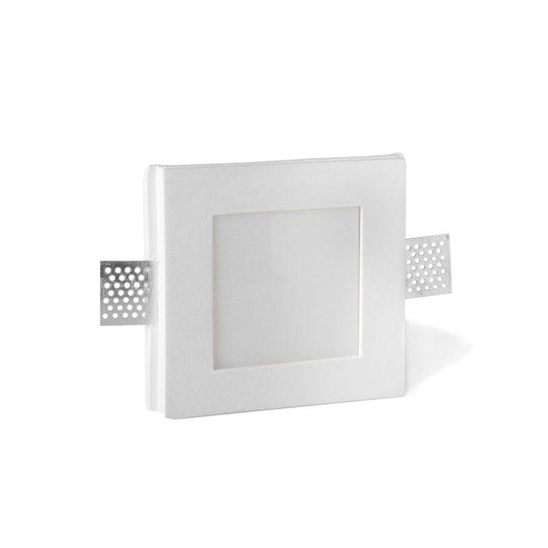 Faretto Led Cartongesso.Porta Faretto In Gesso Quadrato Con Plexiglas Bianco A Filo Cartongesso Ds1051