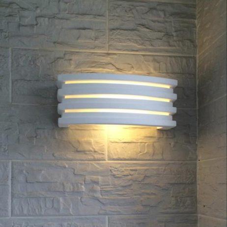 Applique in gesso da parete con attacco e14 lampada con vetro sopra e sotto luceled - Applique in gesso da parete ...