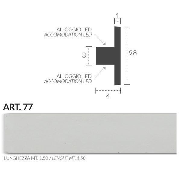 2 CORNICE IN GESSO PER STRIP LED EFFETTO BI-EMISSIONE ART77 3 metri – Luceled